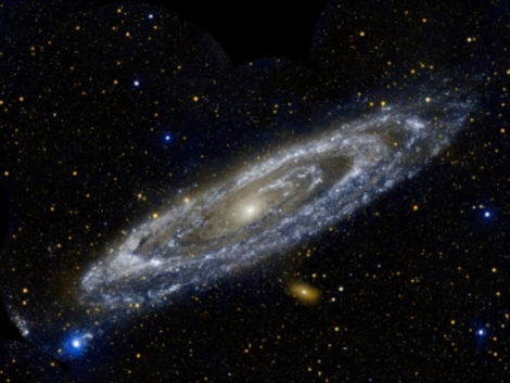 Andromeda is twice as massive as the Milky Way. Scientists say that Andromeda has twice the mass, made of dark matter, than the Milky Way. (Credit: Phil Plait)