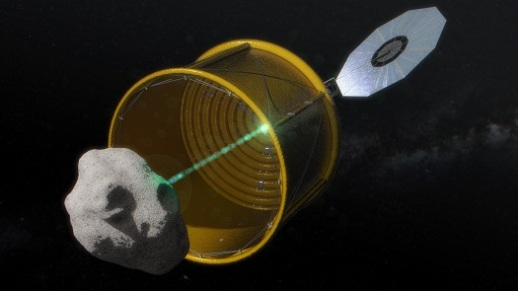 In this concept image, the robotic vehicle deploys an inflatable bag to envelop a free-flying small asteroid before redirecting it to a distant retrograde lunar orbit. (Credit: NASA)