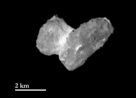 The European Space Agency's Rosetta spacecraft saw the nucleus of comet 67P/Churyumov-Gerasimernko from a distance of 1,210 miles (1,950 kilometers). Image taken July 29, 2014. (Credit: ESA/Rosetta/MPS for OSIRIS Team MPS/UPD/LAM/IAA/SSO/INTA/UPM/DASP/IDA)