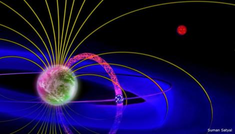 This is a schematic of a plasma torus around an exoplanet, which is created by the ions injected from an exomoon's ionosphere into the planet's magnetosphere. (Credit: UT Arlington)
