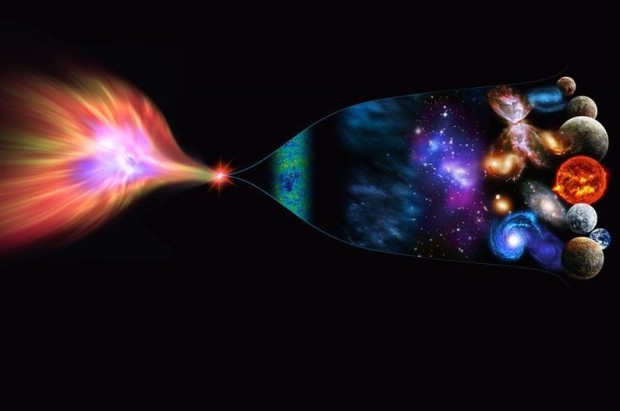 "our known universe could be the three-dimensional ""wrapping"" around a four-dimensional black hole's event horizon. In this scenario, our universe burst into being when a star in a four-dimensional universe collapsed into a black hole. (Credit: Perimeter Institute)"
