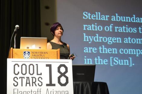 Natalie Hinkel gives a plenary talk at the Cool Stars 18 meeting in Flagstaff, Arizona, about her paper on the Hypatia Catalog. (Credit: Natalie Hinkel)