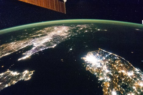 North Korea is barely lit when juxtaposed with neighboring South Korea and China. (Credit NASA)