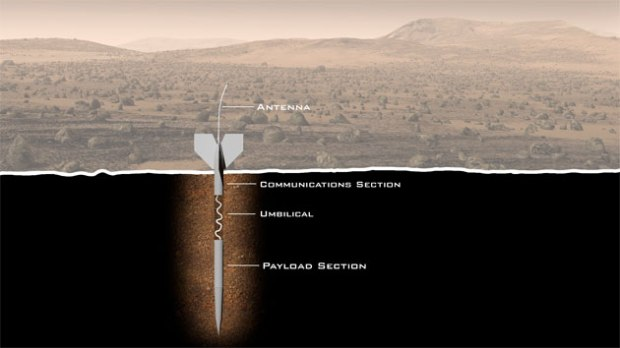 """The ExoLance Concept. """"Arrows"""" fall from a spacecraft, penetrate the ground, and expose the life-detecting equipment inside. (Credit: Explore Mars Inc.)"""