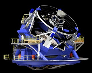 The 8.4-meter LSST will use a special three-mirror design, creating an exceptionally wide field of view. (LSST/rendering)