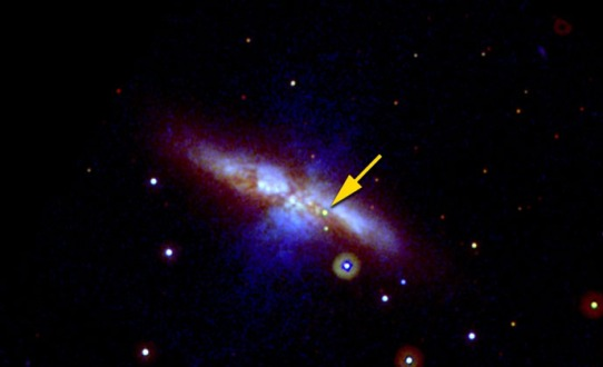 This image from NASA's Swift space telescope, taken on Jan. 22, 2014, shows the supernova SN 2014J as seen in three different exposures by the space observatory. Scientists suspect the weird supernova's progenitor star may have had a helium belt. (Credit: NASA/Swift/P. Brown, TAMU)