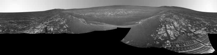 The decision to reformat Opportunity's flash memory early next month is prompted by the multiple computer resets the rover has been experiencing. This month alone, Opportunity has had to be rebooted a dozen times, interrupting valuable time that should be taken up with carrying out science near the rim of Endeavour crater. (Credit: NASA, O'Neil)