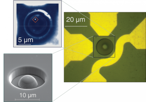 These images show a diamond sample with a hemispherical lens (right and lower left), and the location of a single electron spin/quantum state visible through its light emission (upper left). The scale bar on the image at upper left measures five microns, the approximate diameter of a red blood cell. (Credit: Courtesy of Awschalom Lab/University of Chicago)