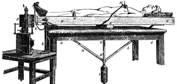 """Angelo Mosso's """"human circulation balance"""" machine worked like a seesaw to measure blood flow changes to the brain. (Credit: Stefano Sandrone et al.)"""