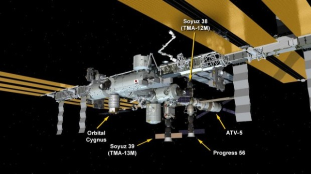 Here's an awesome photo to start your day: The International Space Station currently has five spacecraft docked to it — the most that can be currently attached. If any of the world's space agencies, or private companies like SpaceX were to send up another spacecraft today, they'd need to circle until another parking space becomes available. (Credit: NASA)