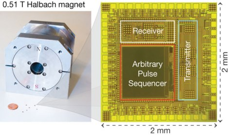 Harvard electrical engineering and applied physics professor Donhee Ham and his colleagues have drastically shrunk the size of the electronics even further, fitting the RF receiver, transmitter and other components on a tiny seed-sized chip. (Credit: Dongwan Ha/Harvard SEAS)