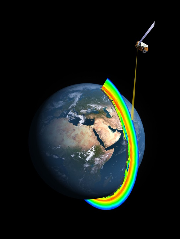 A cross-section of the Earth's ozone layer as measured by the limb profiler, part of the Ozone Mapper Profiler Suite that's aboard the Suomi NPP satellite. (Credit: NASA/NOAA)