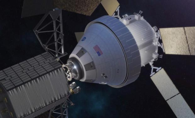 A concept image of the Orion spacecraft docking with the robotic asteroid redirect vehicle. (Credit: NASA)