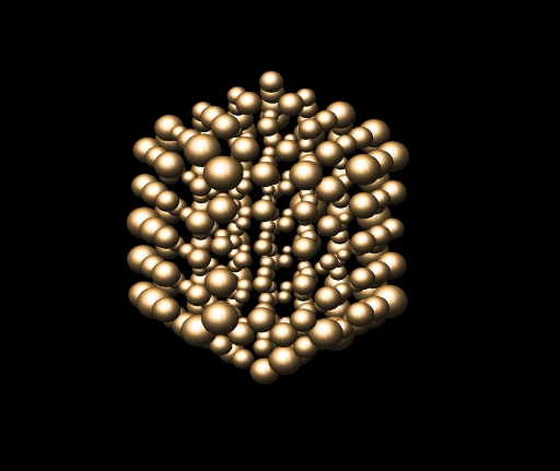 An illustration of the extent to which the atoms, in a small cluster of atoms, vibrate. The spheres represent the range of motion of the atoms, rather than the atoms themselves – the spheres have been exaggerated in size by 45 times in order to ease visualisation. The atoms on the surface have larger ranges of motion than those in the middle of the cluster. (Credit: University of York)