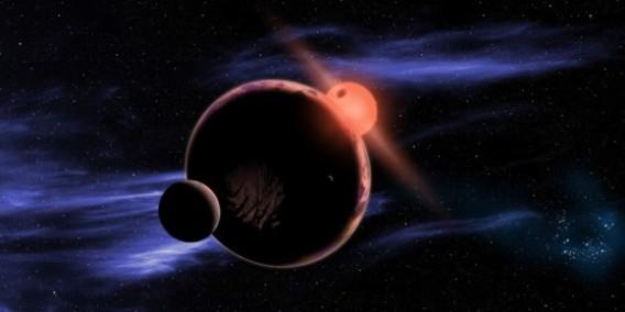 An artist's concept of a rocky world orbiting a red dwarf star. (Credit: NASA/D. Aguilar/Harvard-Smithsonian center for Astrophysics)