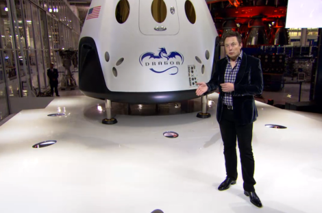 SpaceX CEO Elon Musk and the new Dragon V2, which will soon carry people to the International Space Station (Credit: SpaceX_