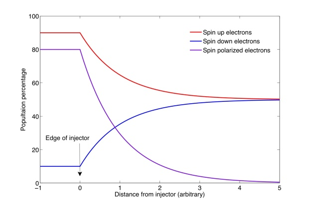 A plot showing a spin up, spin down, and the resulting spin polarized population of electrons. Inside a spin injector, the polarization is constant, while outside the injector, the polarization decays exponentially to zero as the spin up and down populations go to equilibrium. (Credit SA3.0)