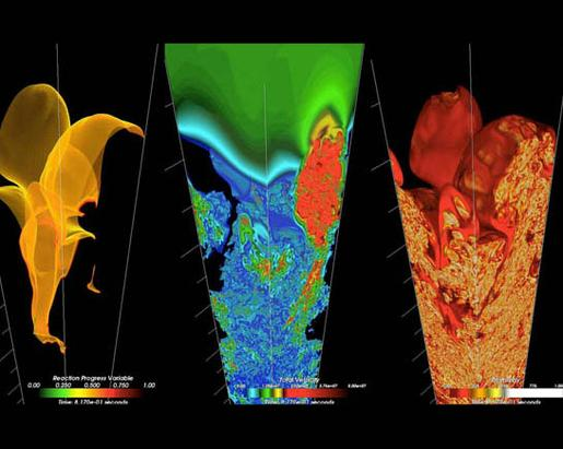 Complex Fluid Mechanics - Detailed visualizations of the nuclear combustion inside a supernova. The calculations are based on fluid mechanics, showing how the explosion rips through the star. (Credit: Argonne National Laboratory)
