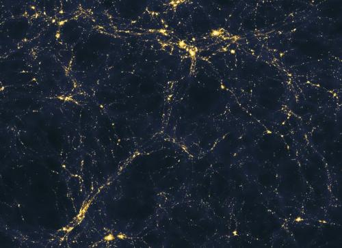 A computer model shows one scenario for how light is spread through the early universe on vast scales (more than 50 million light years across). Astronomers will soon know whether or not these kinds of computer models give an accurate portrayal of light in the real cosmos. (Credit: Andrew Pontzen/Fabio Governato)