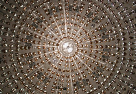 Inside the Borexino detector used to detect neutrinos from the sun. Credit Borexino Collaboration