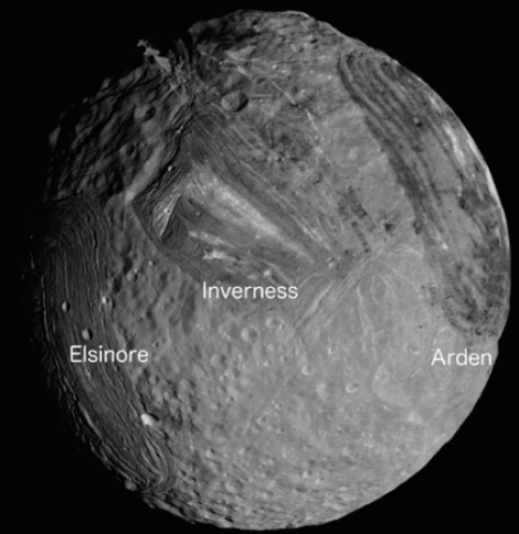 Mosaic of southern hemisphere of Miranda, the innermost regular satellite of Uranus, with radius of 236 km. Projection is orthographic, centered on the south pole. Visible from left to right are Elsinore, Inverness, and Arden coronae. (Credit: NASA/Jet Propulsion Laboratory/Ted Stryk)