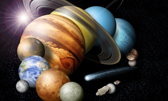 A montage of the planets and some of the moons in our solar system, not to scale. (Credit: NASA/JPL)