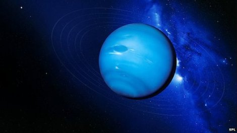 Scientists have found definitive traces of water on a relatively small exoplanet. HAT-P-11b is the size of Neptune and has copious amounts of both water vapor and hydrogen in its atmosphere. (Credit: NASA)