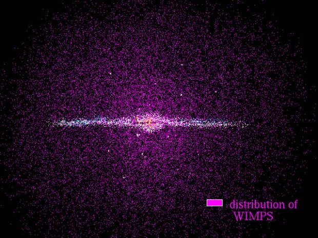 """In astronomy, WIMPs, or weakly interacting massive particles, figure into one explanation of the dark matter problem. The particles are called """"weakly interacting"""" because they seem not to have much interaction with normal matter (electrons, protons, and neutrons) other than gravitational attraction (thus """"massive""""). (Credit: NASA, ESA. Hubble)"""