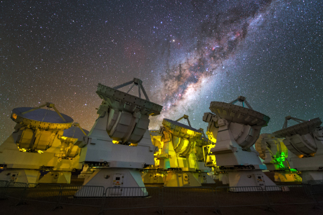 The vibrant, starry stream of the Milky Way frames radio telescopes of the Atacama Large Millimeter/submillimeter Array - known as the ALMA Observatory - in Chile's Atacama Desert. (Credit: Y. Beletsky/ESO)
