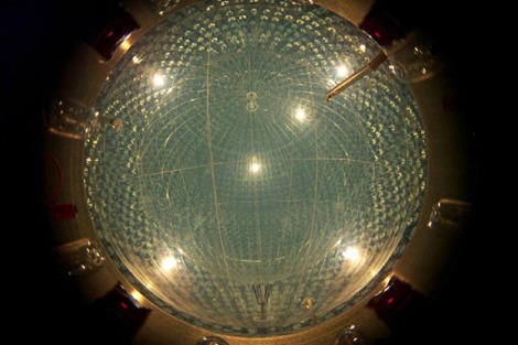 "The Borexino collaboration, which announced the detection of an elusive solar neutrino in August, involved several scientific contributions from Princeton over its 25-year history. The detector consists of two massive transparent nylon balloons filled with a petroleum-based liquid called ""scintillator,"" which emits a flash of light when it detects a neutrino. These flashes are picked up by an array of sensors embedded in a stainless steel sphere that surrounds the balloons. (Credit: Borexino collaboration)"