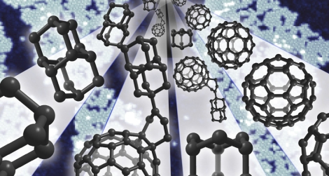 Square, cage-shaped molecules called diamondoids (left) linked to soccer-ball shaped buckyballs (right) create a new molecule called a buckydiamondoid, center, in this illustration. These new hybrid molecules may be useful for developing molecular electronic devices in the future.
