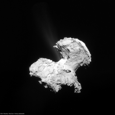 A composite photo of comet 67P/C-G showing gases escaping from the 'neck'. The first jets of dust were detected spurting from the comet as Rosetta approached it in August but detailed photographs weren't available until last week. (Credit: Emily Lakdawalla/ESA)