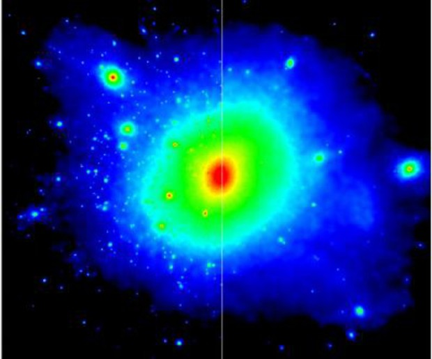 Two models of the dark matter distribution in the halo of a galaxy like the Milky Way, separated by the white line are shown. The colors represent the density of dark matter, with red indicating high-density and blue indicating low-density. On the left is a simulation of how non-interacting cold dark matter produces an abundance of smaller satellite galaxies. On the right the simulation shows the situation when the interaction of dark matter with other particles reduces the number of satellite galaxies we expect to observe around the Milky Way. (Credit: Durham University)