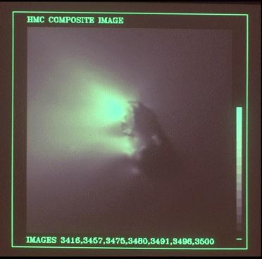 European Space Agency's Giotto probe returned 2333 images during the Comet Halley encounter of March 13-14, 1986. All were recorded before the closest approach of 596 km at 00:03:02 UTC on 14 March 1986; the last from a distance of 1180 km, 15 seconds before closest approach. (Credit: MPAE, Dr H.U. Keller.