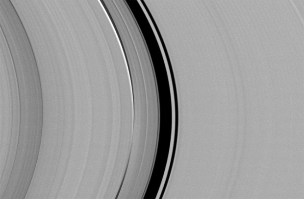 Cassini spied just as many regular, faint clumps in Saturn's narrow F ring (the outermost, thin ring), like those pictured here, as Voyager did. But it saw hardly any of the long, bright clumps that were common in Voyager images. (Credit: NASA/JPL-Caltech/SSI)