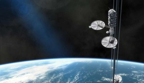 Japanese construction giant Obayashi believe that carbon nanotechnology is developing quickly enough that a space elevator may be a reality as early as 2050, and they plan to be the first to make one. (Credit: ABC News Australia)