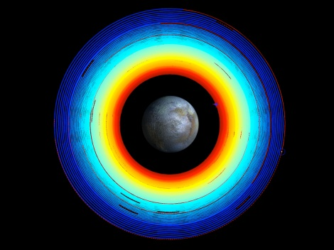 This image illustrates Dawn's spiral transfer from high altitude mapping orbit (HAMO) to low altitude mapping orbit (LAMO). The trajectory turns from blue to red as time progresses over two months. Red dashed sections are where ion thrusting is stopped so the spacecraft can point its main antenna toward Earth. (Credit: NASA/JPL-Caltech)