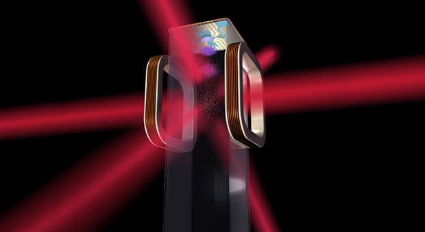 rtist's concept of an atom chip for use by NASA's Cold Atom Laboratory (CAL) aboard the International Space Station. CAL will use lasers to cool atoms to ultracold temperatures. (Credit: NASA)