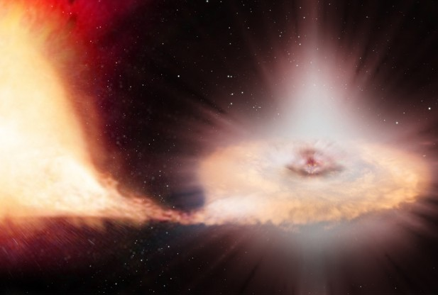 Less than two months after it first began repeatedly scanning the sky, the ESA's Gaia space observatory has discovered its first supernova – a powerful stellar explosion that had occurred in a distant galaxy located some 500 million light-years from Earth, the agency announced on Friday.  The above is an artist's impression of a Type Ia supernova – the explosion of a white dwarf locked in a binary system with a companion star. (Credit: ESA/ATG medialab/C. Carreau, Bednar)