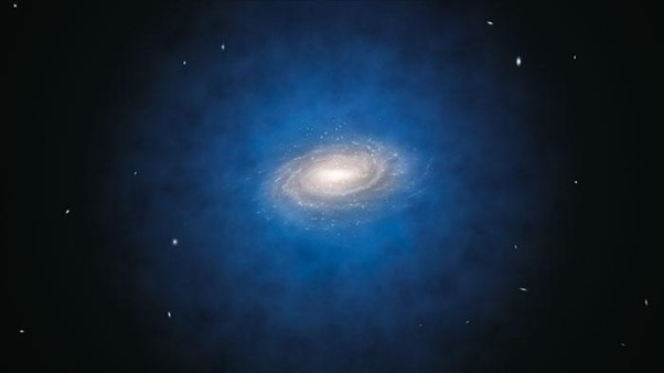 A new measurement of dark matter in the Milky Way has revealed there is half as much of the mysterious substance as previously thought.  The above is an artist's impression of the Milky Way and its dark matter halo (shown in blue, but in reality invisible). Credit: ESO/L. Calçada