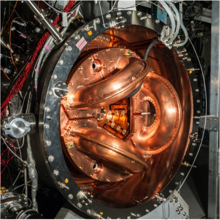 The UW's current fusion experiment, HIT-SI3. It is about one-tenth the size of the power-producing dynomak concept. (Credit: U of Washington)
