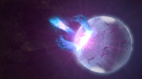"NASA's Fermi Gamma-ray Space Telescope detected a rapid-fire ""storm"" of high-energy blasts from a highly magnetized neutron star, also called a magnetar, on Jan. 22, 2009. Now astronomers analyzing this data have discovered underlying signals related to seismic waves rippling throughout the magnetar."