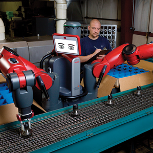 , a collaborative robot from Rethink Robotics, works on a mocked-up assembly line. (Credit: Rethink Robotics)