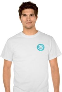 White T Shirt with Badge on Left