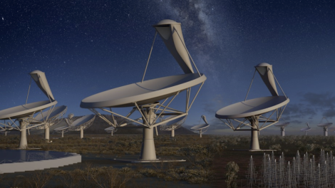 A few major factors will drive exponential growth in the amount of terabytes falling on us from the skies over the next couple of decades: the increasing speed of commercial satellite deployment, implementation of faster communication technology, and the onset of interplanetary missions. (Credit: SKA Telescope, Golubovich)