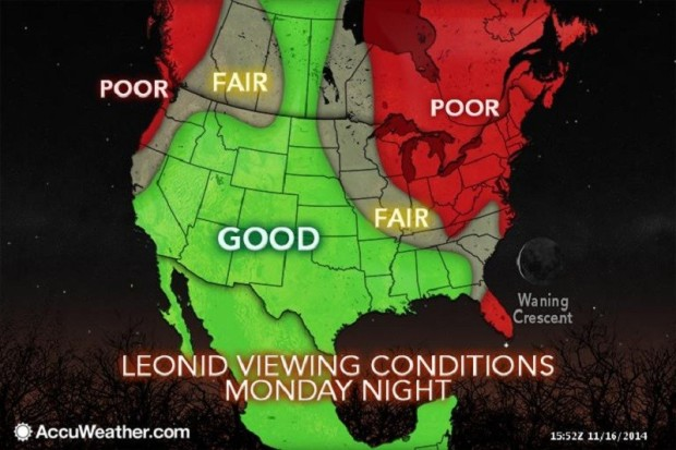 Leonids Viewing Conditions Photo courtesy of AccuWeather.com