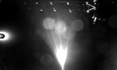 Philae's shot of its mothership shortly after separation. Photograph: ESA/Handout/ESA/Handout/Corbis