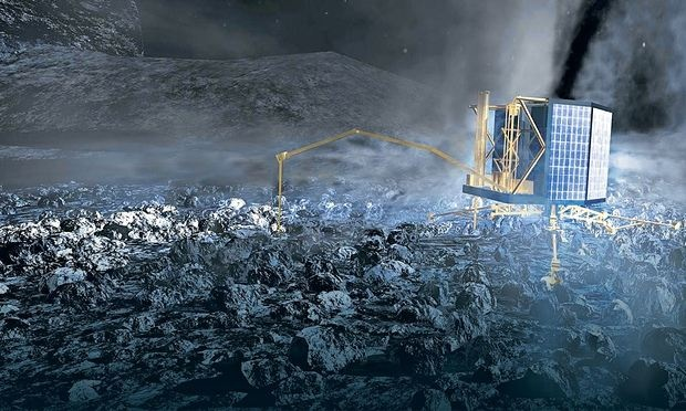 An artist's impression of the Philae lander touching down on the comet. Photograph: Observer