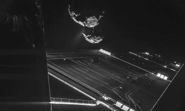 A Rosetta mission selfie with the comet Churyumov-Gerasimenko in the background. (ESA/Rosetta/Philae/Civa)