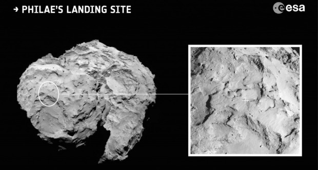 Philae's landing site isn't perfect, but it's as close as the ESA could get. (ESA)